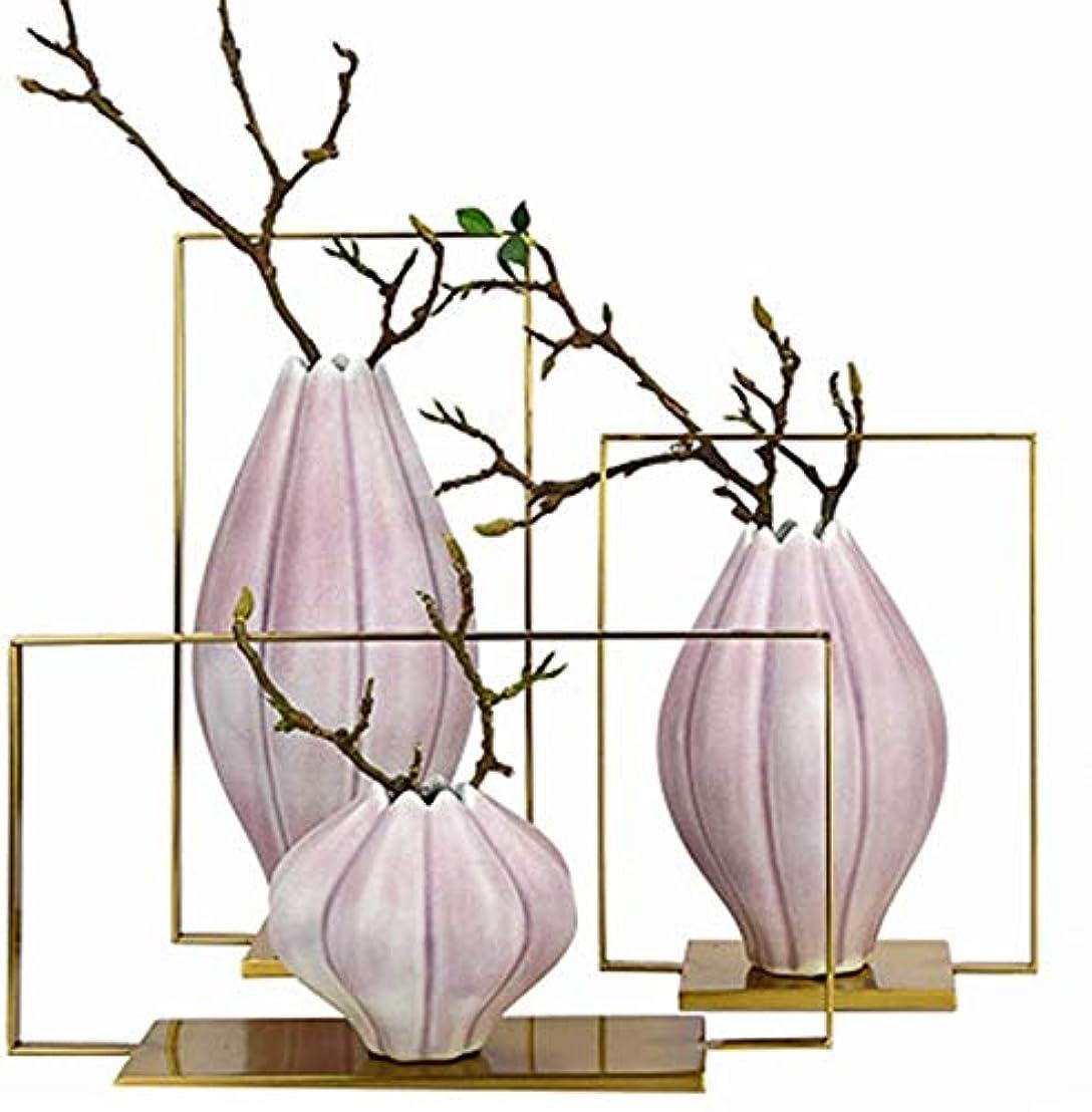 ドナウ川心配僕の花器 セラミック花瓶フラワーガーデン植物フラワーフラワーアレンジメントピンク大中小のレストランリビングルーム18 * 12 * 36センチメートル 花瓶 (Size : 3-piece set)