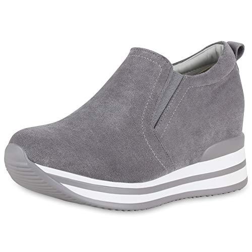 SCARPE VITA Damen Sneaker Wedges Plateau Turnschuhe Keilabsatz Freizeit Schuhe 174025 Grau 39