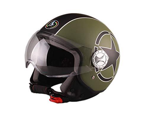 M 57-58 CM Casque Ouvert RS-V06 Flame Moto Scooter Jet Visiere Pare Soleil Vintage Chopper Homme ET Femme Demi-Jet Retro ECE 22 HOMOLOGU/É Cruiser Pilote Vespa MOFA