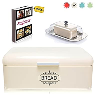 Vintage Bread Box For Kitchen Stainless Steel Metal in Retro Cream Off White + FREE Butter Dish + FREE Bread Serving Suggestions eBook 16.5  x 9  x 6.5  Large Bread Bin storage by All-Green Products