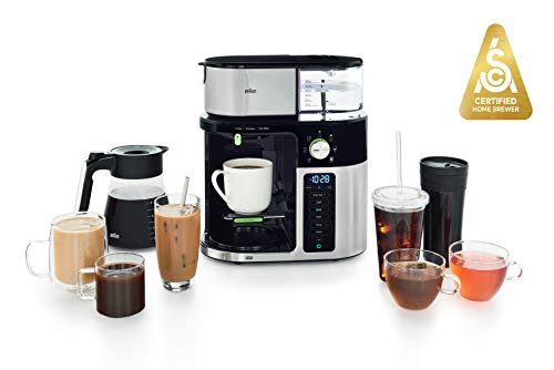Braun MultiServe Coffee Machine, 7 Programmable Brew Sizes / 3 Strengths + Iced Coffee & Hot Water for Tea, Glass Carafe (10-Cup), Stainless / Black, KF9150BK