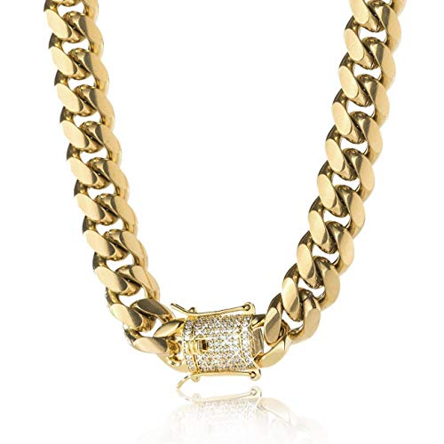 TRIPOD JEWELRY 14K Gold Plated Miami Cuban Link Chain Bracelet with Diamond Clasp 8mm,10mm,12mm,14mm Stainless Steel Iced Out Cuban Link Chain Necklace Gold Bracelet for Men (14K Gold - 14mm, 26.00) Maine