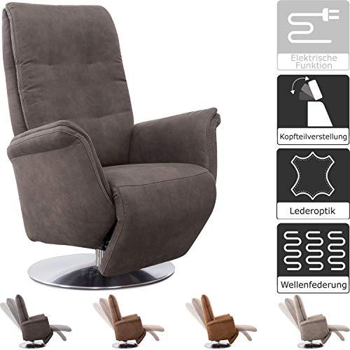 Cavadore TV-Sessel Danzig im Vintage-Stil / Fernsehsessel mit Kopfteilverstellung, Liege- und Relaxfunktion / Stufenlos verstellbar / 89 x 114 x 79 / Lederoptik, Anthrazit