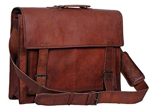 True grit leather 18 Inch Mens Leather Messenger Briefcase Shoulder Laptop Satchel Messenger Bag
