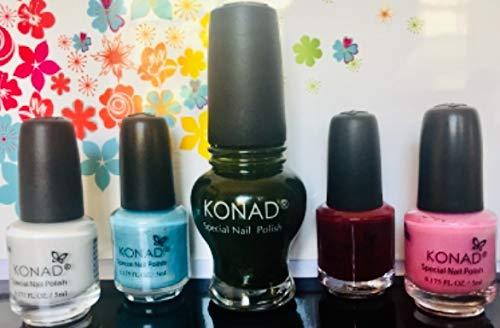 KONAD-Kit de 5 esmaltes para estampar: White, Sky, Moss Green 12ml, Dark Purple, Pink Pearl.