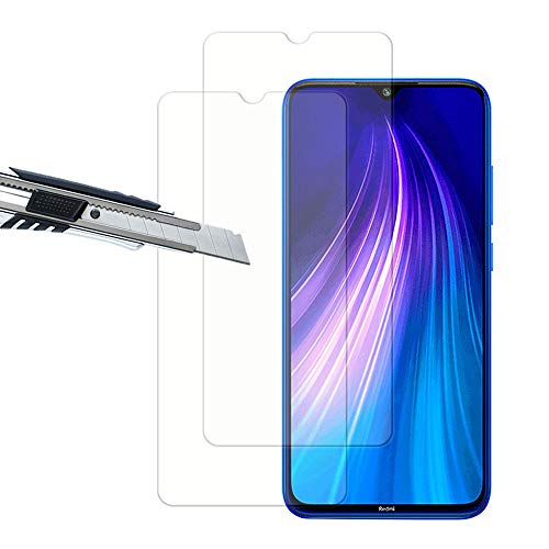 THILIVE[2 Unidades Xiaomi Redmi Note 8 Protector de Pantalla,Vidrio Cristal Templado 9H Dureza,HD-Display,Anti-Huellas,Anti-Burbujas