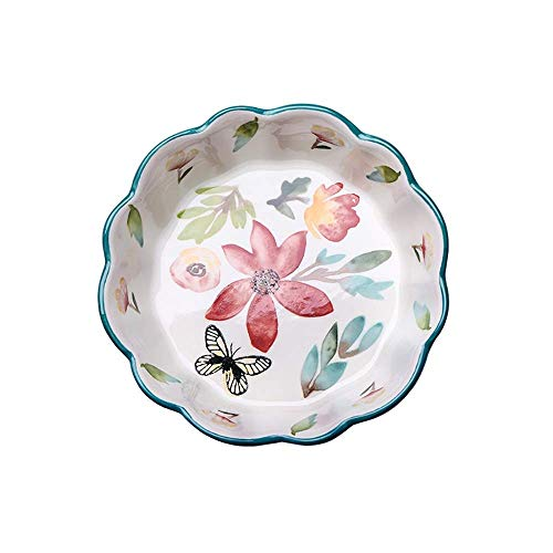WQF Plateau de Cuisson en céramique Ensemble de 3 (Un pour Chaque Taille) Four à Cerises en céramique Peint à la Main à la Table Lasagne/Plat de Cuisson Moules à gâteau (Couleur: Ver