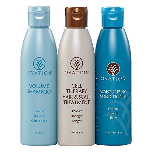Ovation Balance Cell Therapy 6 oz. System - Get Stronger, Fuller, and Healthier looking hair with Natural Ingredients. Includes Cleanser, Treatment, and Conditioner. Made in the USA