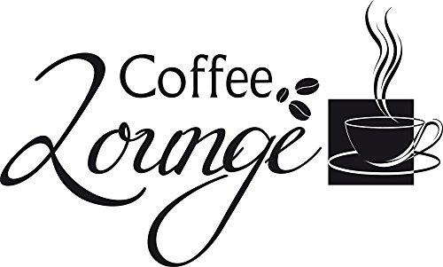 GRAZDesign Aufkleber für Küche Coffee Lounge - Küchendeko Dekorfolie Sprüche - Wandtattoo Küche Kaffee / 83x50cm / 070 schwarz