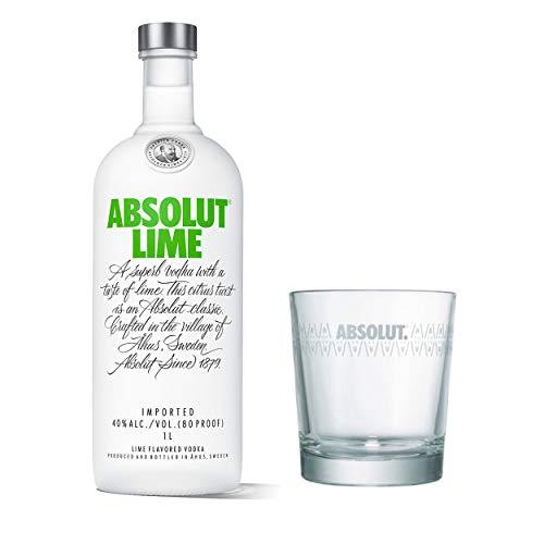 Absolut Vodka Lime Set mit Tumbler Glas, Wodka mit Limettengeschmack, Schnaps, Spirituose, Alkohol, Flasche, 40 %, 1 L