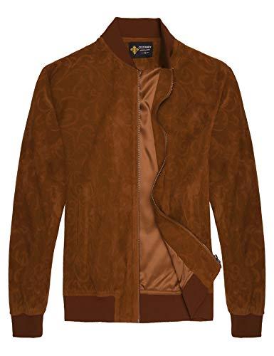 COOFANDY Men's Floral Suede Bomber Leather Jacket Casual Varsity Baseball Coat,Khaki,Small