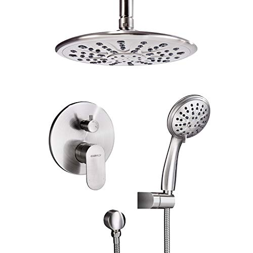 Shower System, Ceiling Shower Faucet Set for Bathroom with High Pressure 8' Rain Shower head and 3-Setting Handheld Shower Head Set, Pressure Balance Valve with Trim and Diverter, Brushed Nickel