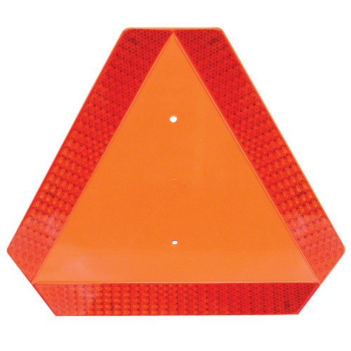 Deflecto Slow Moving Vehicle Sign with Reflective Tape Safety Triangle Orange Highly Visible Plastic 16quot W x 14quot H  x 1/4quot D70011050