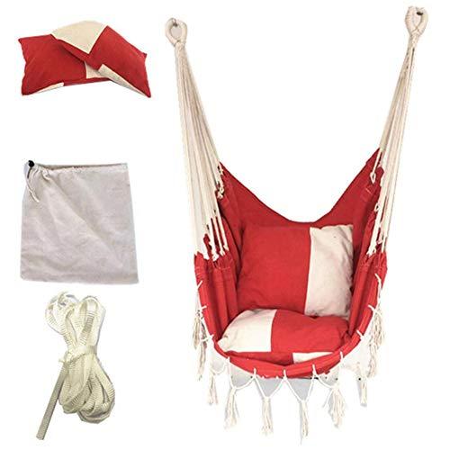 Fancylande Schommelstoel met 2 kussens, set van schommelbank van zacht touw, bekleed, schommelstoel voor hangmatten van touw voor tuin, veranda, schommelstoel voor binnenplaats, Worth Buying