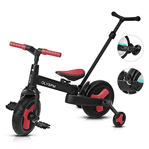 OLYSPM 5 en 1 Triciclo Bebé Plegables Bicicleta sin Pedales para 1-6 Años Niños,Triciclo para Bebes con Pedales Desmontables y Ruedas Auxiliares,Triciclo Evolutivo(Rojo)