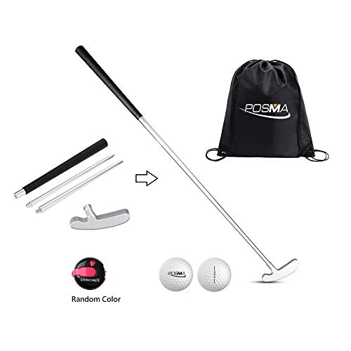 POSMA GCP02A 4 Sections Portable Best Two-Way Putter One Touch Reset Stroke Conter Tour Golf Balls Golf Carry Bag Bundle Set - Left and Right Hand-