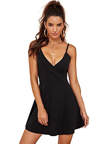 SheIn Women's V Neck Adjustable Spaghetti Straps Sleeveless Sexy Backless Dress X-Large Black#1