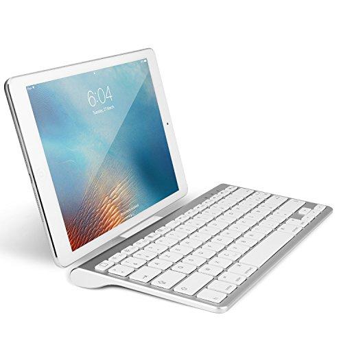 OMOTON Clavier Bluetooth IOS AZERTY Accentué avec Support Ultra Mince pour Tous les iPad 10.2, 9.7 ,iPad Air, iPhone,Clavier Sans Fil Blanc