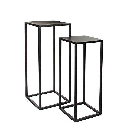 MICA Decorations Beistelltische Goa, Schwarz Metall 2er Set - Satztisch - Pflanztische (H 70 & 60 cm)