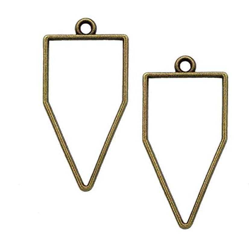 Monrocco 30Pcs Antique Bronze Triangle Open Back Bezel Pendant Frame Pendant Open Back for Jewelry Making,
