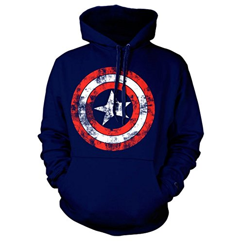 Officiel Captain America Shield Distressed Logo Sweater à Capuche - Bleu Marine Hoodie (Moyen/Medium)