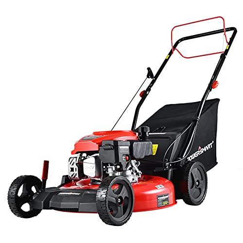 PowerSmart Self Propelled Lawn Mower, 21 Inch Gas Powered Lawn Mower with 170CC 4-Stroke Engine, 3-in-1 Mower with Bag, 5 Cutting Heights Adjustable (1.2