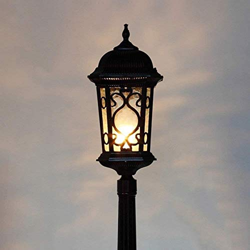 BANNAB Outdoor Waterproof High Pole Glass Lantern Street Light Landscape Post Bollard Lamp Aluminum Garden Yard Column Lamp E27 Decor Lawn Deck Fence IP54 Rating