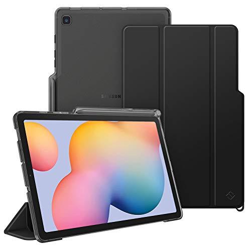 FINTIE Custodia per Samsung Galaxy Tab S6 Lite 10.4'' SM-P610/ P615 2020 con S Pen Holder, Sottile Leggero Case Posteriore Trasparente Cover con Auto Sveglia/Sonno Funzione, Nero