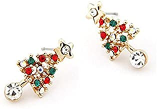 Velishy(TM) Christmas Tree Star Crystal Earrings