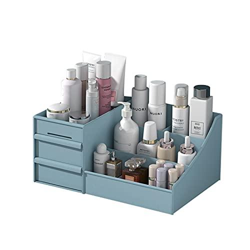 OsiliviA Rangement Maquillage Organisateur Maquillage,Plastique Rangement Maquillage Tiroi pour Commode, Chambre à Coucher, Salle de Bain Boite Rangement Maquillage(Blue)