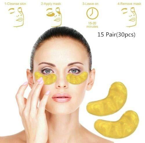Crystal Collagen Gold Under Eye Gel Pad Face Mask Anti Aging Ride, Powder Gel Collagen Eye Mask, Premium Anti Aging Eye Serum (15 paires)