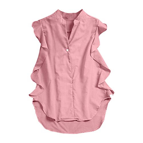 TWGONE Tunic Shirts for Women Sleeveless Plus Size Loose Button Ruffled Solid Tanic Blouse(XX-Large,Pink)
