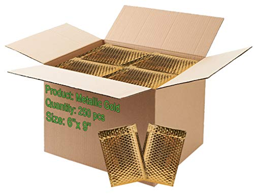 250 Pack Bubble mailers 6x9 Padded envelopes 6 x 9. Gold Metallic Cushion envelopes. Exterior Size 7x9. Glitter Gift Packaging, mailing, Shipping. Heavy Duty, self-Sealing.