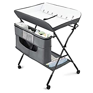 Costzon Baby Changing Table, Adjustable Height Portable Diaper Station w/Lockable Wheels, Safety Belt, Large Storage Rack & Bag, Folding Nursery Station for Infant Newborn (Grey)