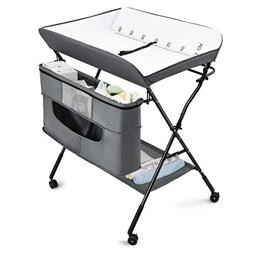 Costzon Baby Changing Table, Adjustable Height Portable Diaper Station w/Lockable Wheels, Safety Belt, Large Storage Rack & Bag, Folding Nursery Organizer for Infant Newborn (Grey)