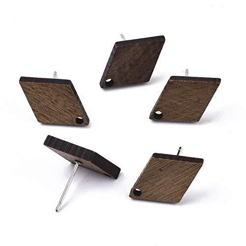 Cheriswelry 20 pares de pendientes de tuerca de diamante de nogal con colgante de madera y componentes para hacer joyas de color marrón