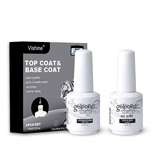 Vishine Lot No Wipe Top & Base Coat Vernis Gel Semi-Permanent UV LED Soak Off Vernis à Ongles Gel Nail Polish Set Kits de Manucure 15ml 2 Flacons