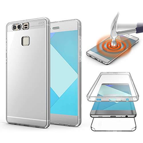 NewTop Funda para Huawei P9 / P9 Lite, de TPU y silicona y gel PC, protección 360° delantera y trasera completa (para P9)