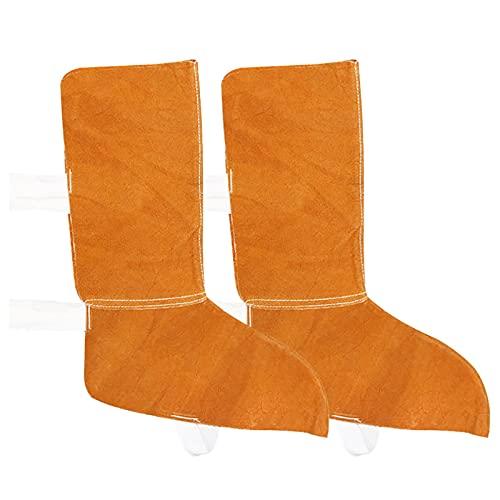 Protector de zapatos de cuero de vaca artificial resistente, espátulas de soldadura resistentes al calor, soldador de trabajo protector de pies, cubiertas de seguridad para botas de soldadura (largas)