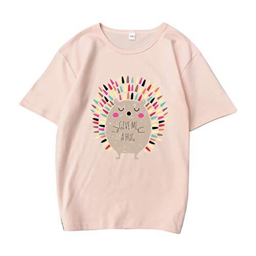 Floweworld🍒Grafische T-Shirts für Frauen lustige lässige Cartoon-Muster Kurzarmhemd Top O-Ausschnitt Igel schlanke weiche Tunika Tops T-Shirt, Damen Bequeme und atmungsaktive Plus-Size-T-Shirts