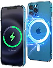 Clear Magnetic Case Compatible with iPhone 12 Pro MaxSupport Wireless Fast Charge Anti-Yellow Shockproof Crystal Thin Protective Ultra Slim Scratch Cover