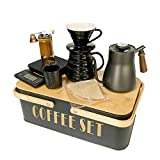 SOTECH Pour Over Coffee Maker Set Coffee kettle scale ceramic server ceramic dripping cup bean grinder filter paper ceramic cup ALL in 1 Portable Metal Box for Traveling