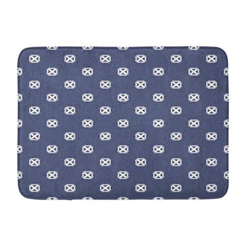 Alfombra de baño con diseño azul marino y blanco, Alfombra de baño Alfombra geométrica con pequeños cuadrados en forma de cruz Alfombra de baño minimalista abstracta Alfombras de baño absorbentes Mete