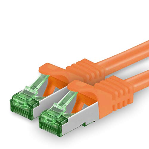 1aTTack.de Cat.7 netwerkkabel 15m - oranje - 1 stuk - Cat7 Ethernet kabel netwerk Lan kabel ruwe kabel 10 Gb s S-FTP PIMF set patchkabel met Rj 45 connector Cat.6a