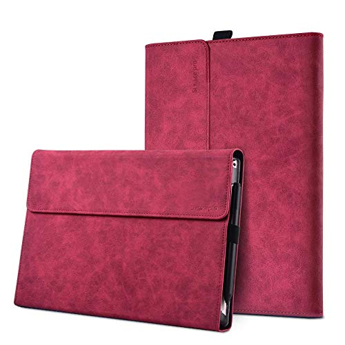 xisiciao Protective case for Surface Pro 7 / Pro 6 / Pro 5 / Pro 4 with Pen Holder, Multiple Angle Polyester Slim Light Shell Cover, Compatible with Type Cover Keyboard (12.3', Rose)