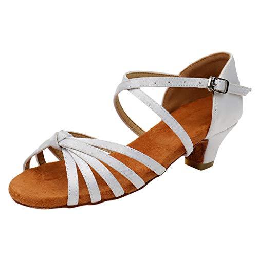 Sandales Danse Fille Chaussures de Danse Latine Tango Sandales Chaussure à Talon Bout Ouvert Chaussures de Pratique Chaussures de Princesse Ceremonie Enfant Nu-Pieds(32,Blanc)