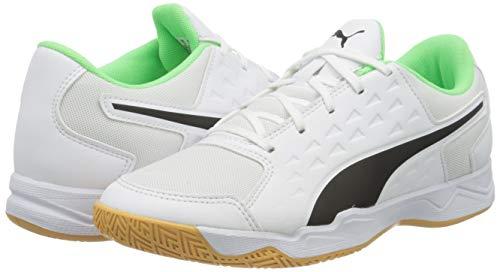 PUMA Unisex Kids Auriz Jr Football Shoe, Puma White-Puma Black-Elektro Green, 6 UK