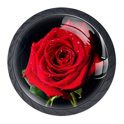 Rauch rote Rose Kommode Knöpfe Runde Kristallglasknöpfe für die Raumdekoration (4 Stück) 3.5×2.8CM