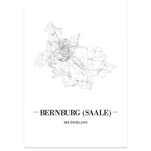 JUNIWORDS Stadtposter, Bernburg (Saale), Wähle eine Größe, 40 x 60 cm, Poster, Schrift A, Weiß