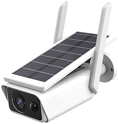 Vokot Q1 IP Cam Wifi ad energia solare, Full HD 1080P 2MP con visione notturna, IP 66, controllo da remoto,Sensore di movimento, Microfono integrato, Supporto Micro SD, Videocamera Bullet